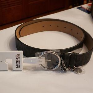 Michael Kors Nwt Silver Buckle Logo Blk Belt Med
